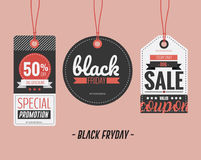 Set of price tags for Black Friday. Vector illustration Stock Photos
