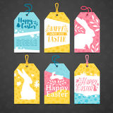 Set of price tags for easter. Template for the design of cards for the spring holiday of Happy Easter. Decor. With a floral pattern. Logos with silhouettes of Royalty Free Stock Photography