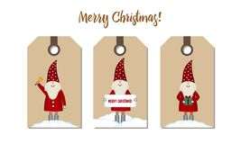Set price tags isolated. Festive Christmas cartoon design. Santa with gift, bell and chimney banner in snowdrift on craft paper, vector illustration royalty free illustration