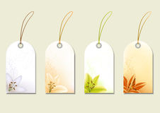 Set of price tags with lilies. Floral price labels with flower. Vector illustration Royalty Free Stock Photos