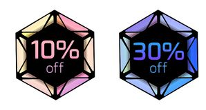 Set of price tags with polygonal elements and discount. Set of price tags  with polygonal elements and discount. Stained glass. Vector element for banners Royalty Free Stock Photos