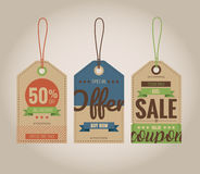 Set of price tags for store promotions. Vector illustration. Vector illustration. Set of price tags, sale coupon and voucher for store promotions Stock Photo