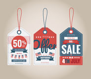 Set of price tags for 4th of July. Vector illustration Royalty Free Stock Photos