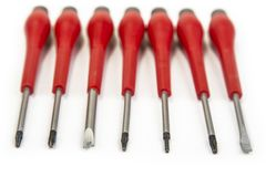 Set of pricise screwdrivers in the box on the white. Stock Photo
