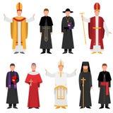 Set of priest of catholic or christian religion in different clothes. Set of priest of catholic or christian religion in different colorful clothes. Flat style royalty free illustration