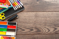 Set for primary schools. On a wooden table Royalty Free Stock Photography