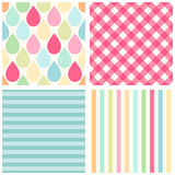 Set of primitive backgrounds 2. Set of primitive retro seamless backgrounds with drops, stripes and gingham of different colors vector illustration