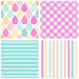 Set of primitive backgrounds. Set of primitive retro seamless backgrounds with drops, stripes and gingham of different colors stock illustration