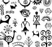 Set of primitive drawings. Set of primitive ethnic hand drawn drawings Royalty Free Stock Image