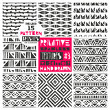 Set of 8 primitive geometric patterns collection. Tribal seamless backgrounds. Modern trendy print. Modern abstract. Set of 8 primitive geometric patterns Stock Images