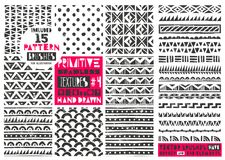 Set of 8 primitive geometric patterns collection. Tribal seamless backgrounds. Modern trendy prints. Vector illustration. Set of 8 primitive geometric patterns Royalty Free Stock Image