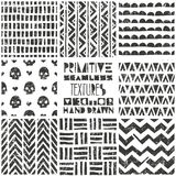 Set of 8 primitive geometric patterns. Tribal seamless backgrounds. Stylish trendy print. Modern abstract wallpaper Royalty Free Stock Photos