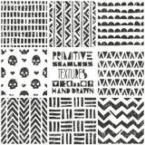 Set of 8 primitive geometric patterns. Tribal seamless backgrounds. Stylish trendy print. Modern abstract wallpaper. Set of 8 primitive geometric patterns stock illustration