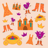 The set of princess with the coaches, boots, castles, dresses and crowns royalty free illustration
