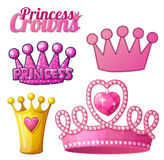 Set  of princess crowns isolated on white Stock Photography