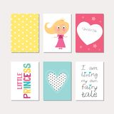 Set of princess theme cards Stock Images