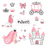 Set of Princess world design elements isolated on white. Vector illustration Royalty Free Stock Photography