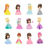 Set of Princesses in Evening Gowns Isolated Vector. Set of princesses in evening gowns isolated. Elegant little girls in flat style. Fashionable ladies in Royalty Free Stock Photography