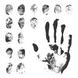 Set of Black Fingerprints on White Background. Set of a print a human finger and handprint. Black ink fingerprints on white background in vector Royalty Free Stock Photography