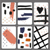 Set 6 printable cards with black brush stroke Royalty Free Stock Photo