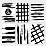 Set 6 printable cards with black brush stroke Royalty Free Stock Photography