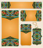 Set Of Printable Cards With Bright Mexican Pattern. Colorful ethnic ornament for identity firm design. Set of flyer or poster, business card, shopping tag. Can Stock Image