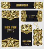 Set Of Printable Cards With Golden Aztec Pattern Stock Photos
