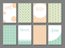 Set of printable cards. With vintage patterns, hand lettering and space for your text. May be used for scrapbooking, posters, flyers, invitations, banners. DIY Stock Images