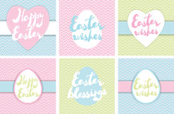 Set of printable Easter greeting cards. Stock Photos