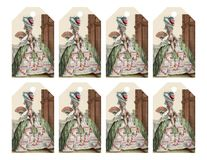 Set of 8 printable gift tags with fashionable victorian woman like Marie Antoinette Royalty Free Stock Photography