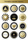 Set of printable gold and black cupcake toppers, tags for Valentine`s day party. Vector set of circle printable cupcake toppers, labels for Valentine`s day party Royalty Free Stock Photos