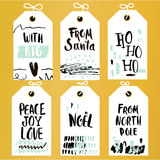Set of 6 printable hand drawn holiday label with a hand written phrases. Vector trendy seasonal badge design. Set of 6 printable hand drawn holiday label with a Stock Image