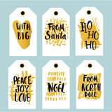 Set of 6 printable hand drawn holiday label with a hand written phrases. Vector trendy seasonal badge design. Stock Photos