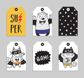 Set of 6 printable hand drawn Super Hero label Royalty Free Stock Photography