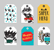 Set of 6 printable hand drawn Super Hero label Stock Photos