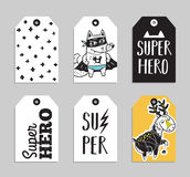 Set of 6 printable hand drawn Super Hero label Stock Images
