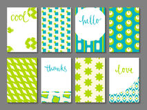 Set of printable journaling cards. With vintage patterns, hand lettering and space for your text. May be used for scrapbooking, posters, flyers, invitations Stock Photography