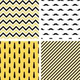 Set of printable vector seamless male patterns. Mustaches, neckties, chevron Stock Photos