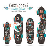 Set of prints on longboard with the images of animal skulls royalty free illustration