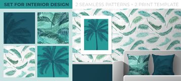 Set of prints and seamless patterns for interior decoration. Seamless pattern from palm leaves for printing on wallpaper, textiles royalty free stock image