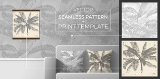 Set of prints and seamless patterns for interior decoration. Seamless pattern from palm leaves for printing on pillows, wallpaper, royalty free stock photography
