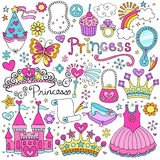 Set Prinzessin-Fairytale Tiara Vector Doodles Lizenzfreie Stockfotos