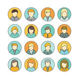 Set of Private Avatar Icon. Set of man and woman private round avatar icon. Social networks business private users avatar pictogram. Round line icon.  vector Stock Photo