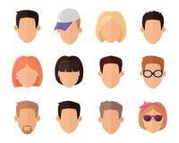 Set of Private Avatars. Of woman and man in flat design style. Social networks business private users avatar pictograms. Icon set. Flat design vector Royalty Free Stock Photos