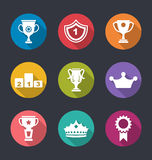 Set of Prizes and Trophy Signs. Illustration Award Flat Icons Set of Prizes and Trophy Signs, Long Shadow Style - Vector Stock Photo