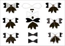 Set prości łęki w czarny i biały wektorowej ilustraci EPS 8 Obrazy Stock