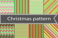 Set prości bezszwowi pasiaści, chequered wzory i ilustracja wektor