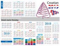 Set prości kieszeń kalendarze dla 2019 Dwa tysiące dziewiętnaście Tydzień zaczyna Poniedziałek Przekład od chorwacja - royalty ilustracja