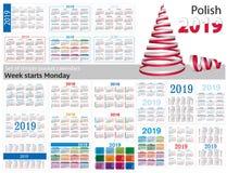 Set prości kieszeń kalendarze dla 2019 Dwa tysiące dziewiętnaście Tydzień zaczyna Poniedziałek Przekład od połysku - royalty ilustracja