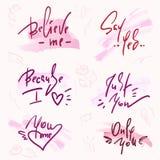 Set prości miłość zwroty Ręka rysujący piękny literowanie na akwareli tle Walentynki ` s dnia miłości kolekcja royalty ilustracja
